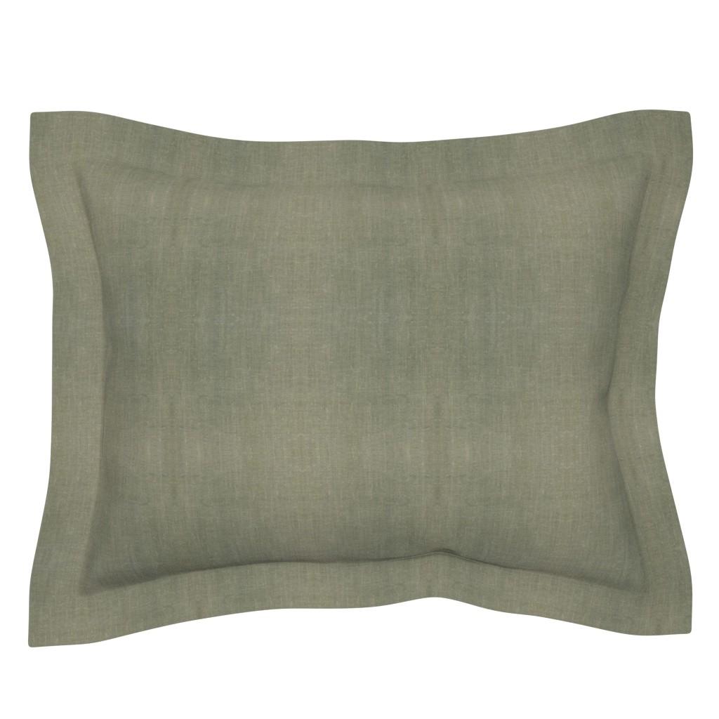 Sebright Pillow Sham featuring Desert Mudcloth . New Sage Solid by barbara_moffett
