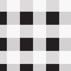 Boho Linen Check . Bluebird + White
