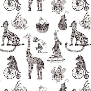 Fancy circus animals in black and white