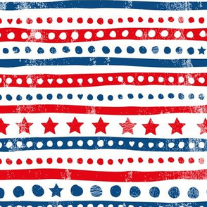 American traditional stars and stripes national holiday design red and blue