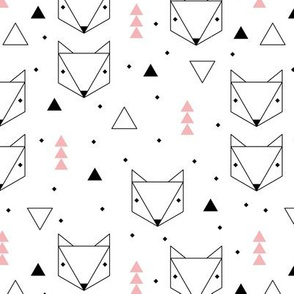 Clean Scandinavian geometric animals  triangle fox for girls pink