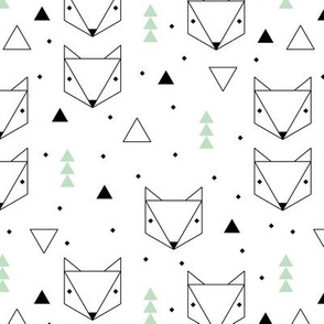 Clean Scandinavian geometric animals  triangle fox gender neutral mint green