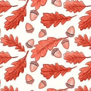 Oak leaves, Fall acorns in watercolor