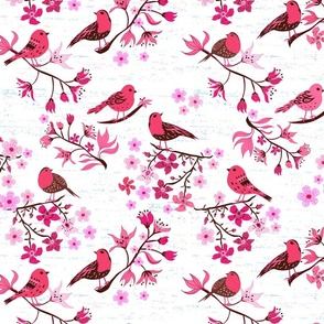 Birds and Blossom red and pink