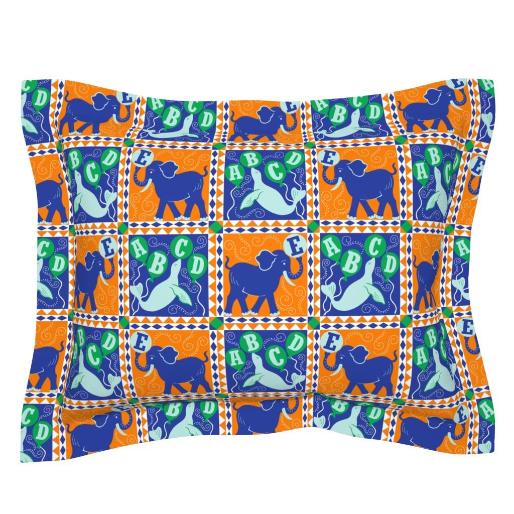 Sebright Pillow Sham featuring Animal Alphabet Circus Quilt by theartofvikki