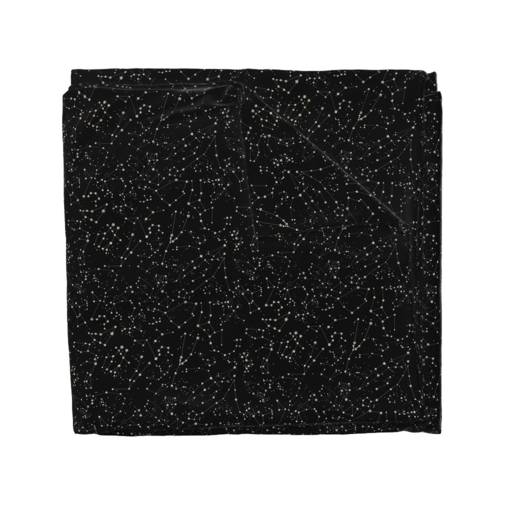 Wyandotte Duvet Cover featuring Constellations - black background by emeryallardsmith
