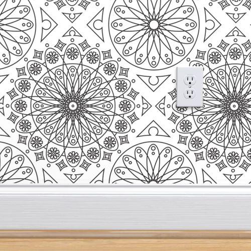 Wallpaper Black On White Geometric Floral Pattern