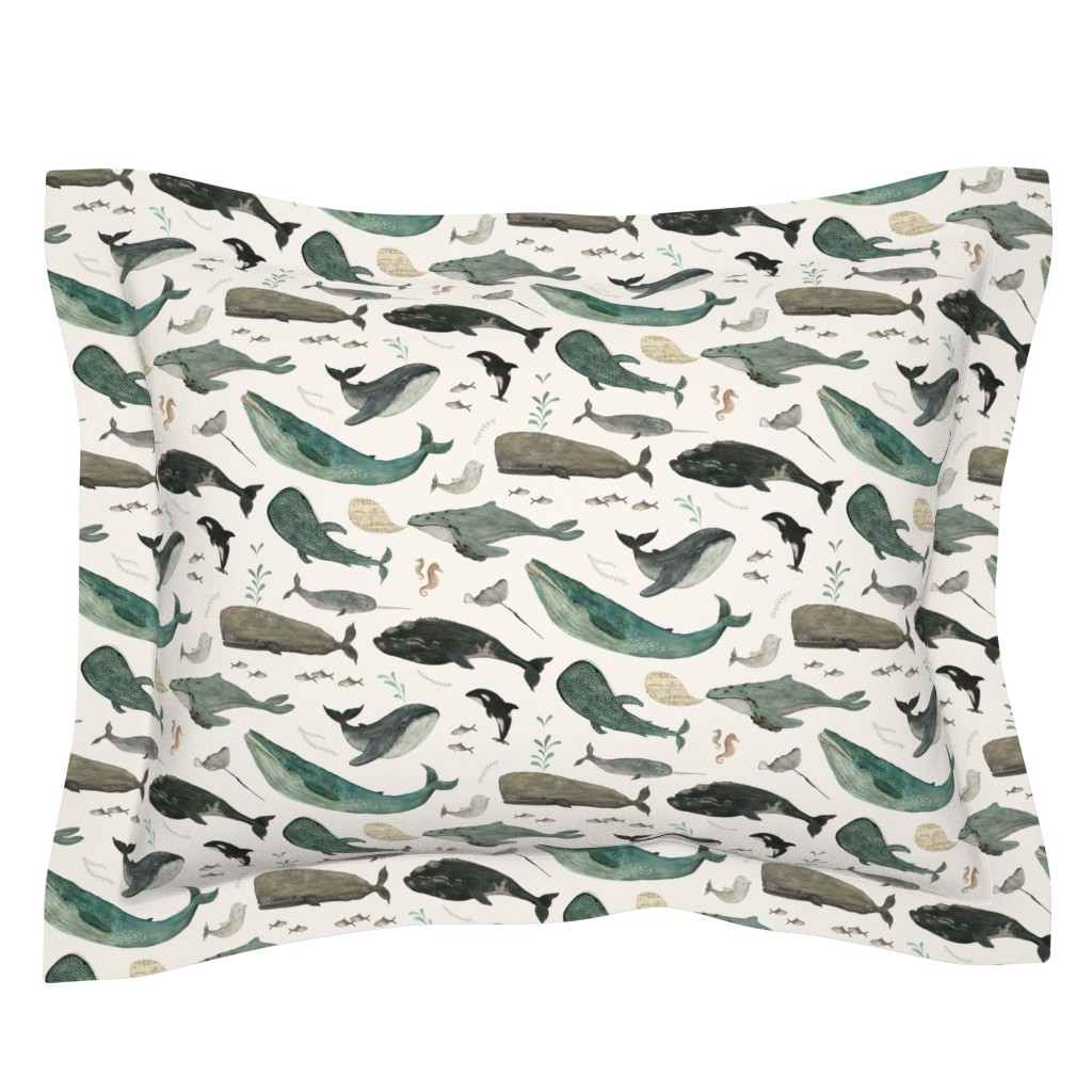 Sebright Pillow Sham featuring Whale's song by katherine_quinn