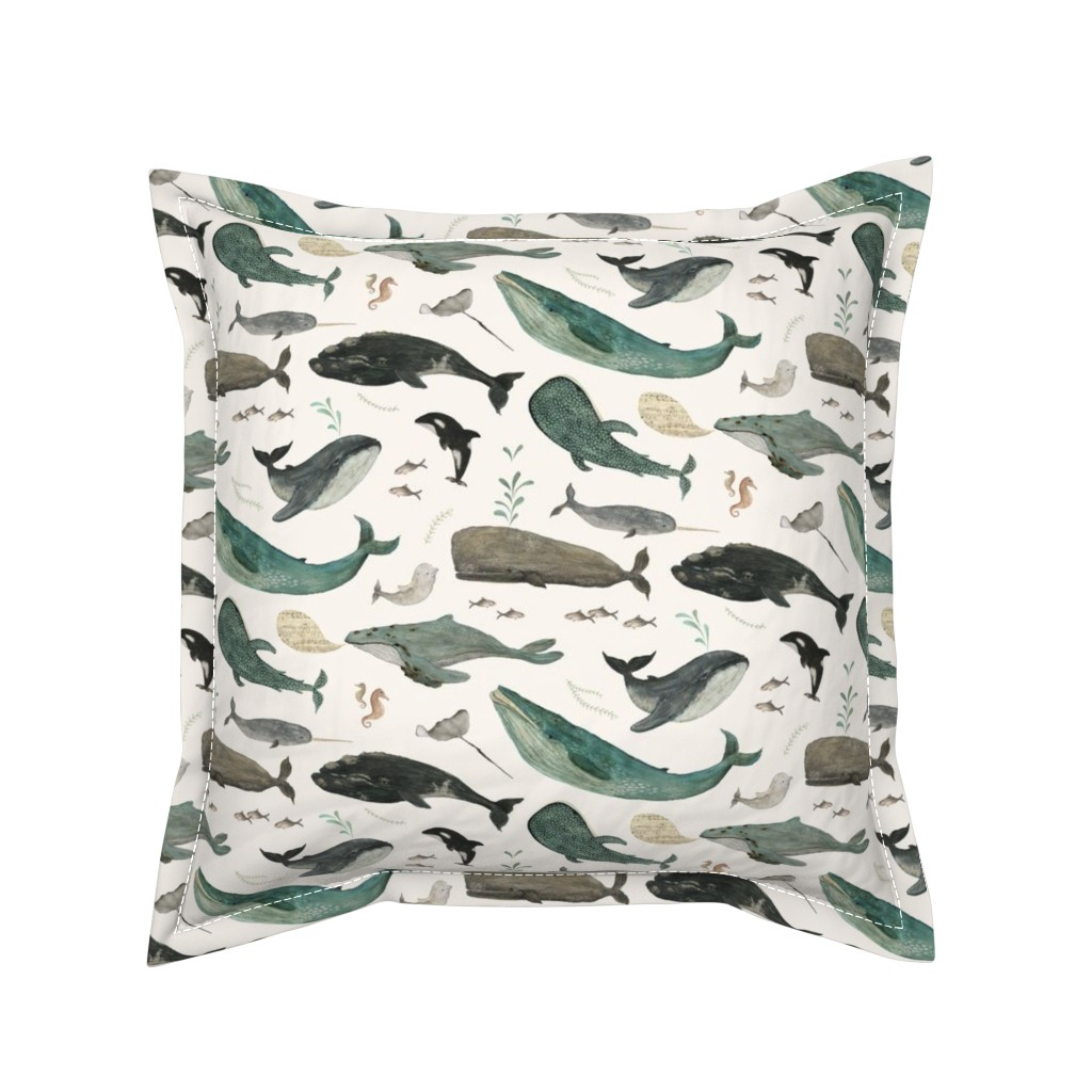Serama Throw Pillow featuring Whale's song by katherine_quinn