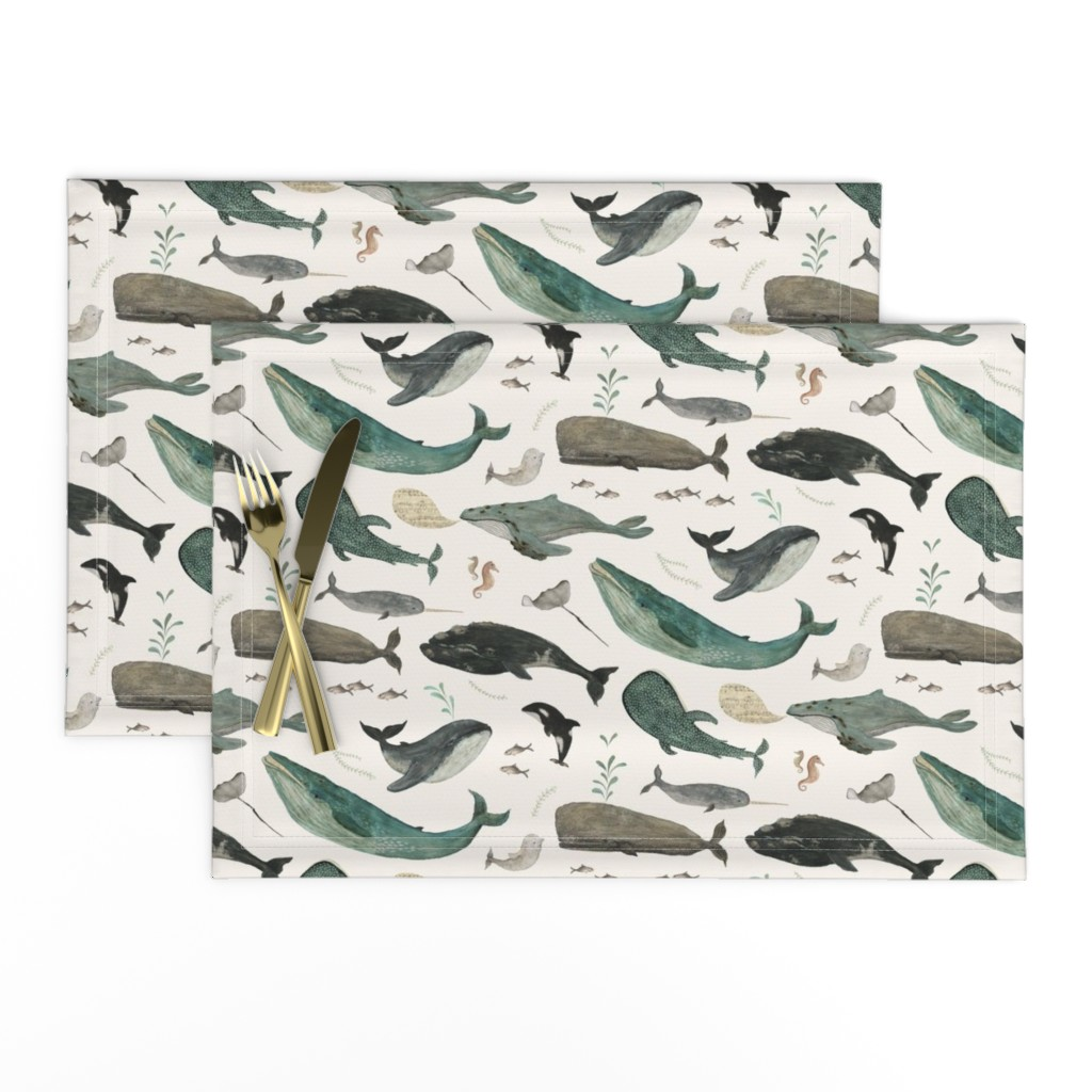 Lamona Cloth Placemats featuring Whale's song by katherine_quinn