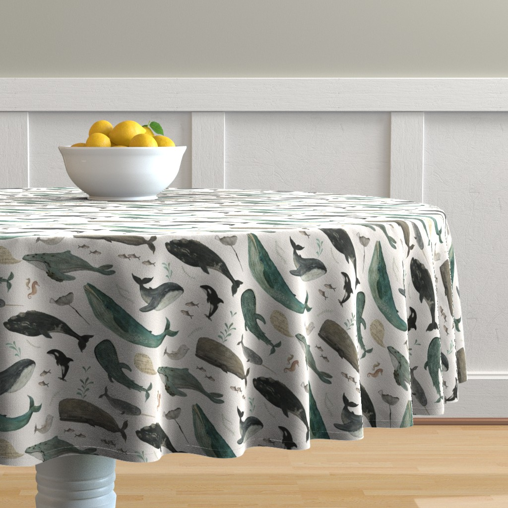 Malay Round Tablecloth featuring Whale's song by katherine_quinn