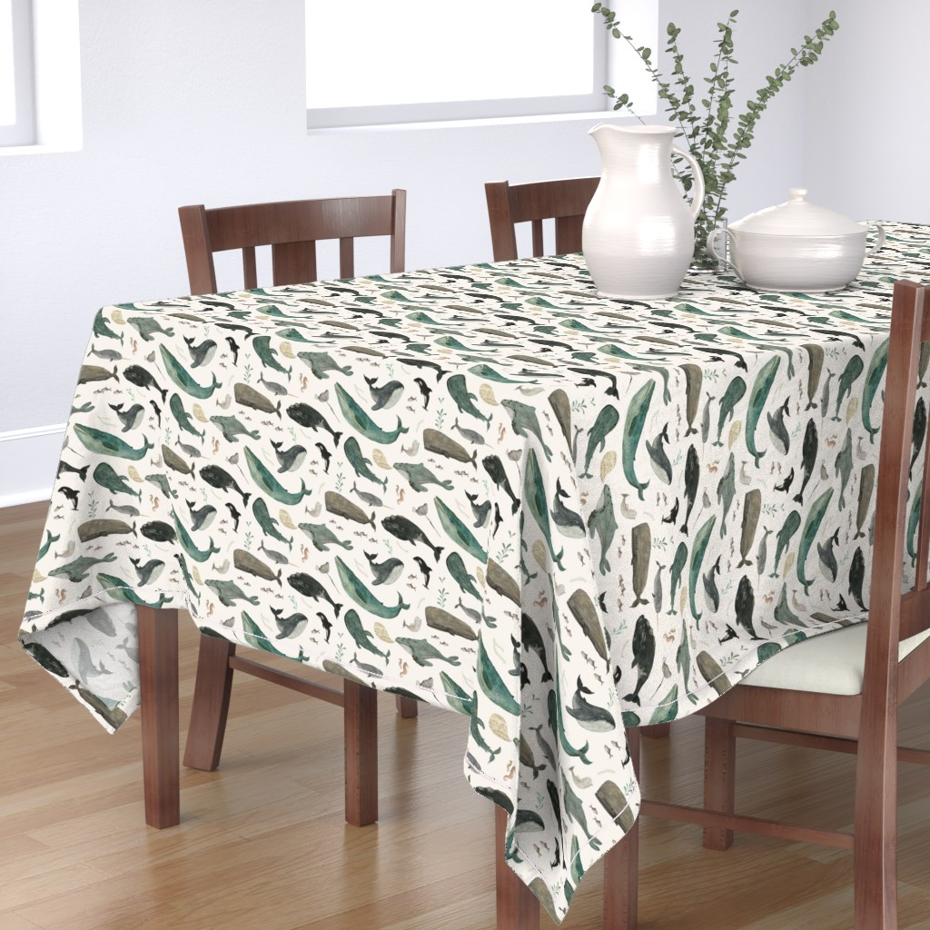 Bantam Rectangular Tablecloth featuring Whale's song by katherine_quinn