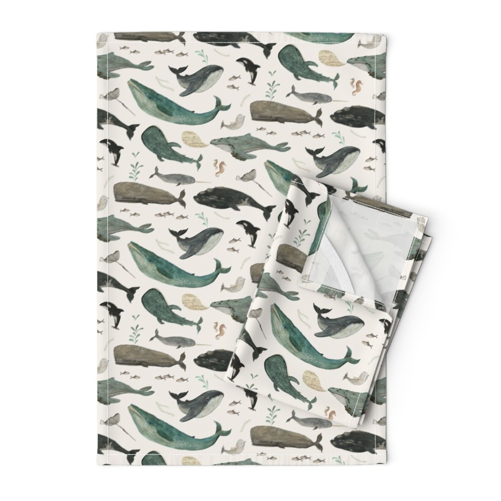 Orpington Tea Towels featuring Whale's song by katherine_quinn