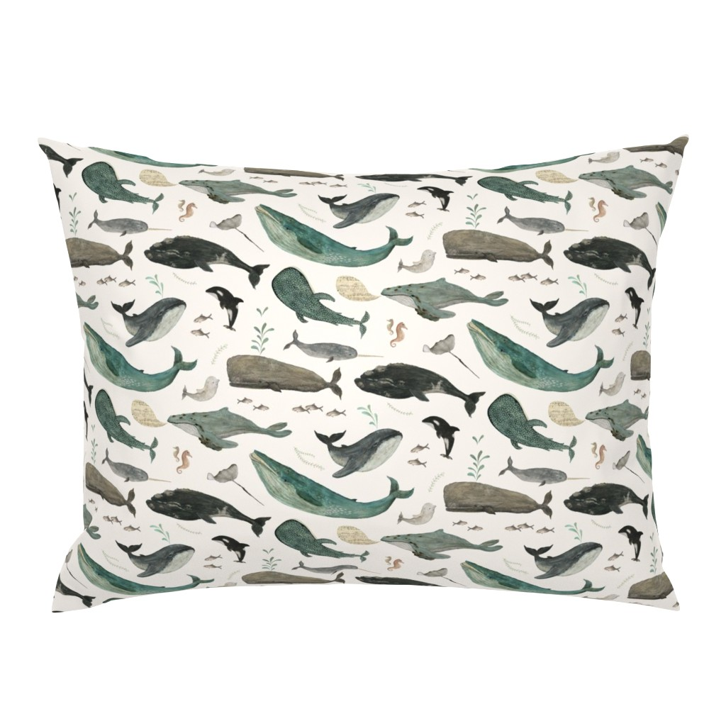 Campine Pillow Sham featuring Whale's song by katherine_quinn