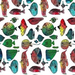 Rainbow fish fabric design
