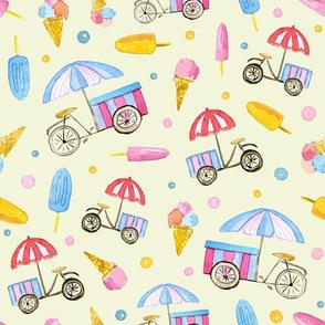 Ice-cream Bikes on yellow background