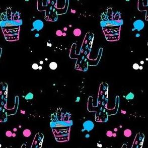 """4"""" 80s Cactus Doodle Bright Colors - Black"""