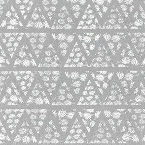 Boho Mudcloth Linen . Gray White