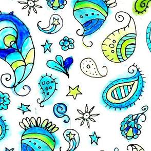 Aqua Watercolor Paisley