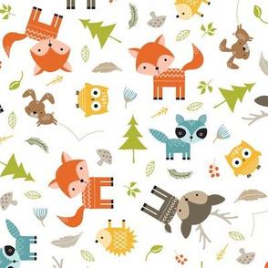 Woodland Animals - White