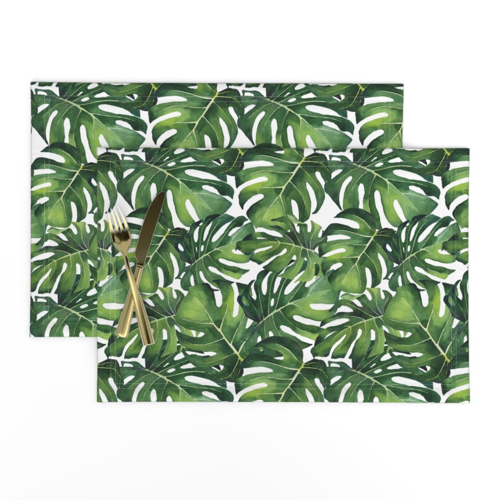 Lamona Cloth Placemats featuring Watercolor Monstera Leaves by taylor_bates_creative