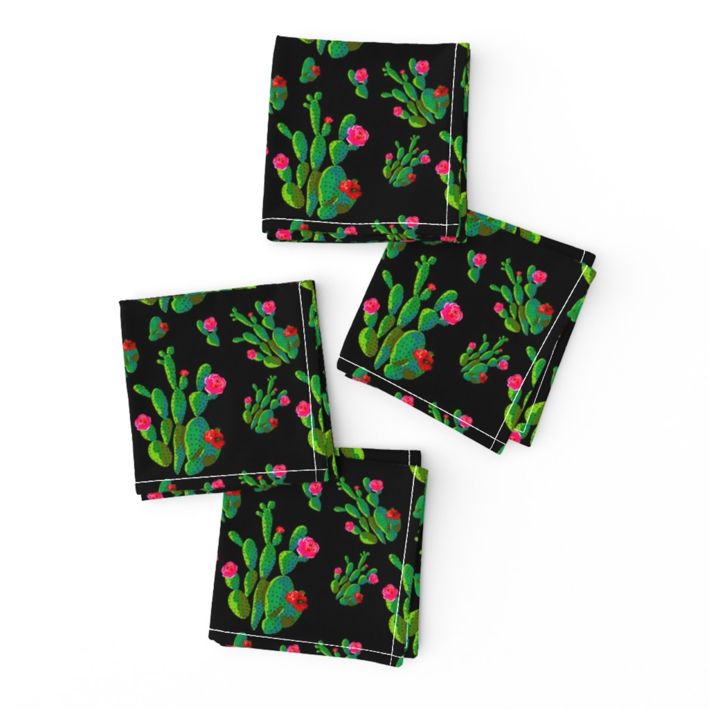 "Frizzle Cocktail Napkins featuring 4"" Retro Cactus - Bright Green & Black by rebelmod"