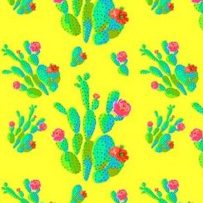 "4"" Retro Cactus - Neon Green & Bright Yellow"