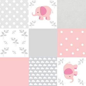 elephant quilt pink gray clouds- Large18 wholecloth