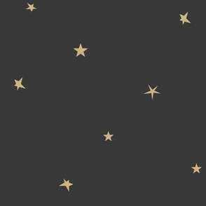 Stars - sand yellow on washed black tiny stars small stars || by sunny afternoon
