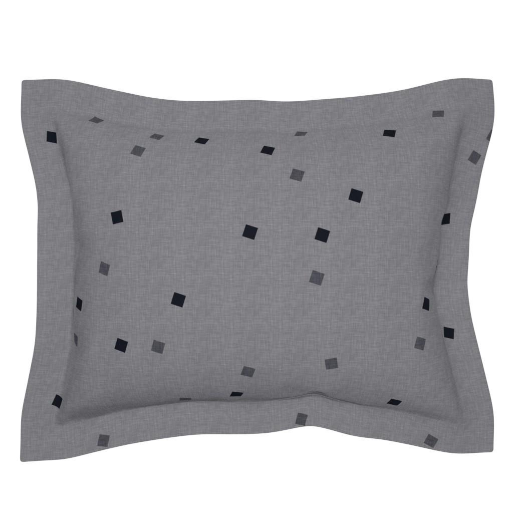Sebright Pillow Sham featuring Tiny Triangles - White/Fatigue by barbara_moffett
