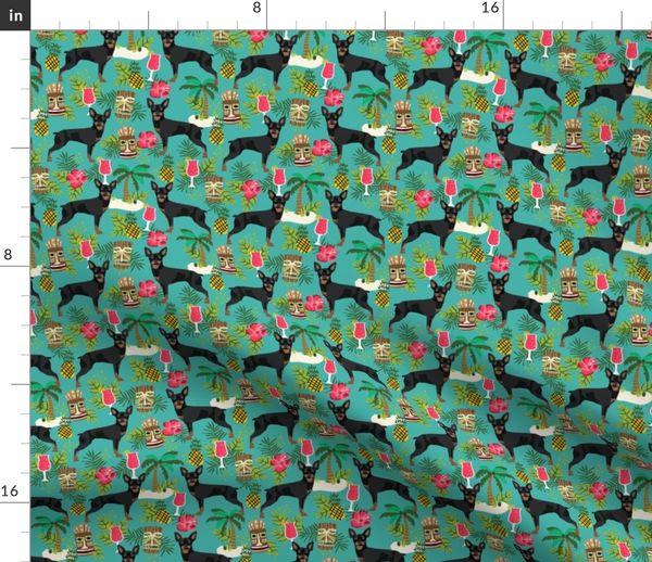 Min Pin Tiki Fabric Tropical Palm Print Spoonflower
