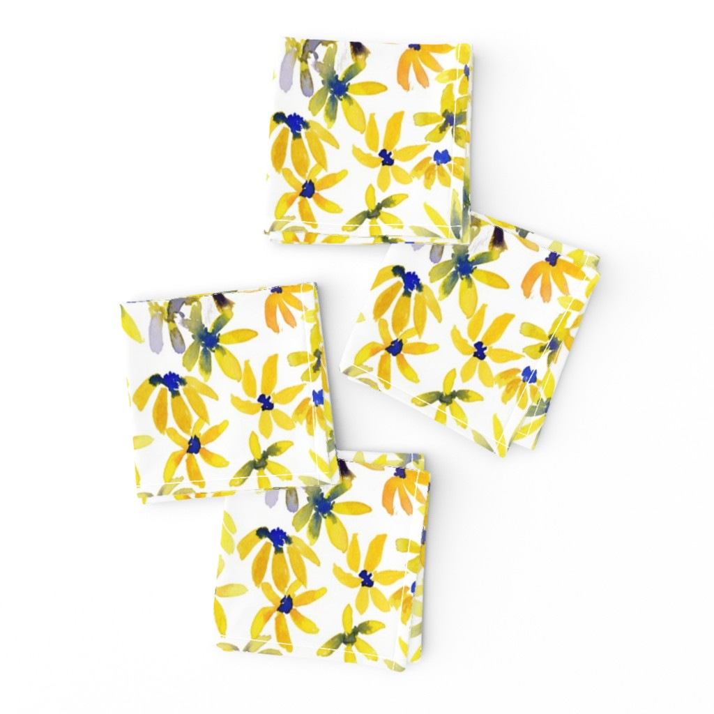 Frizzle Cocktail Napkins featuring blue eyed susan by rosemaryanndesigns