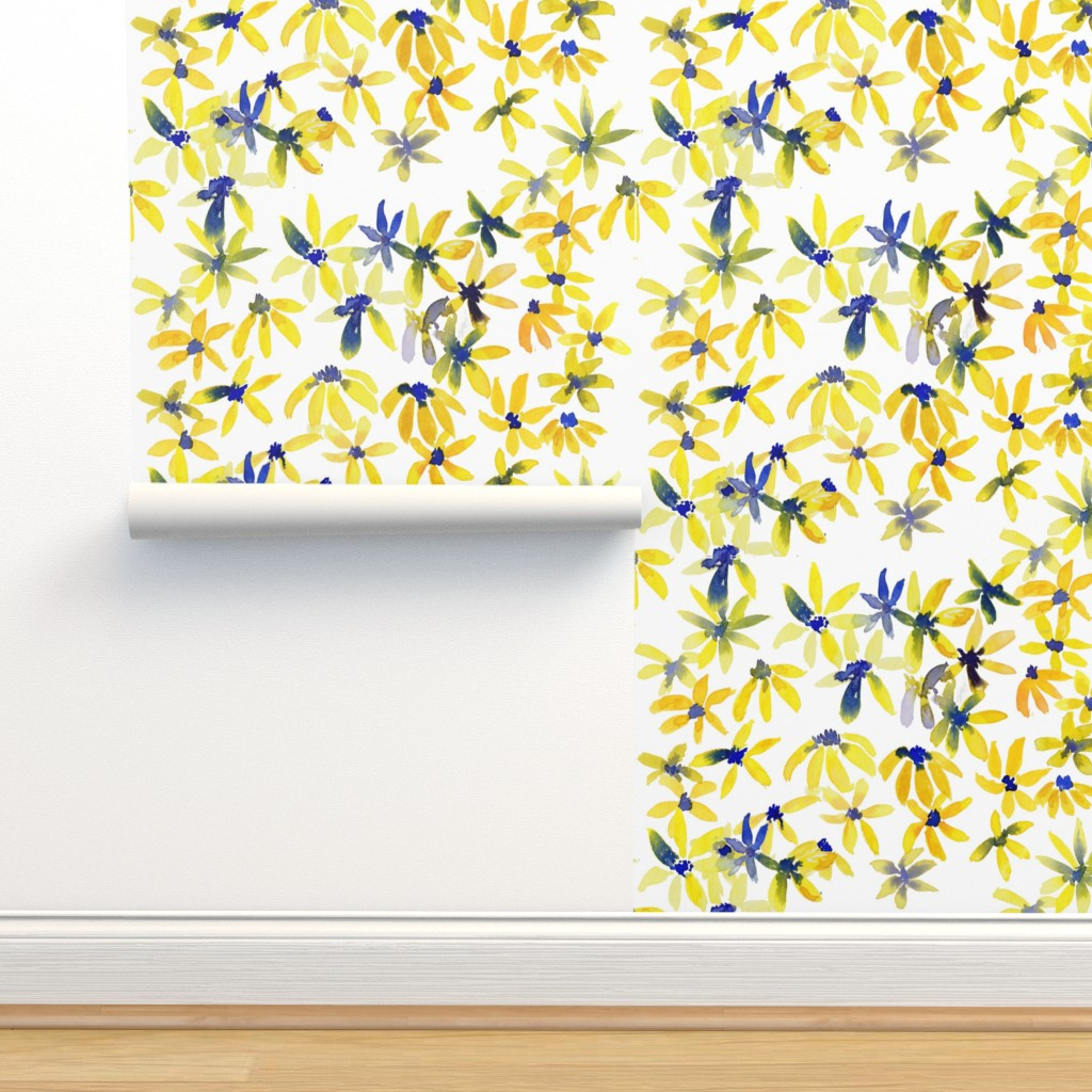 Isobar Durable Wallpaper featuring blue eyed susan by rosemaryanndesigns