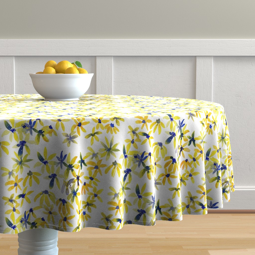 Malay Round Tablecloth featuring blue eyed susan by rosemaryanndesigns