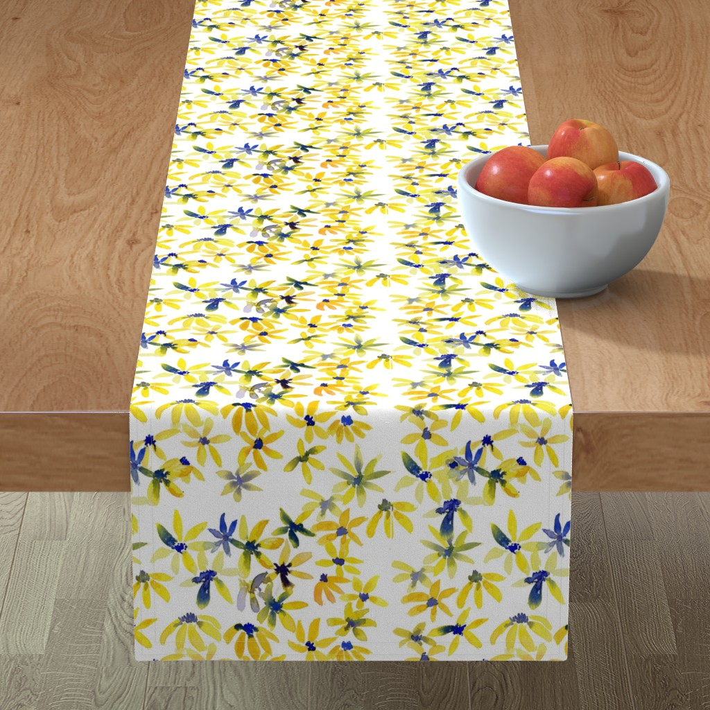 Minorca Table Runner featuring blue eyed susan by rosemaryanndesigns