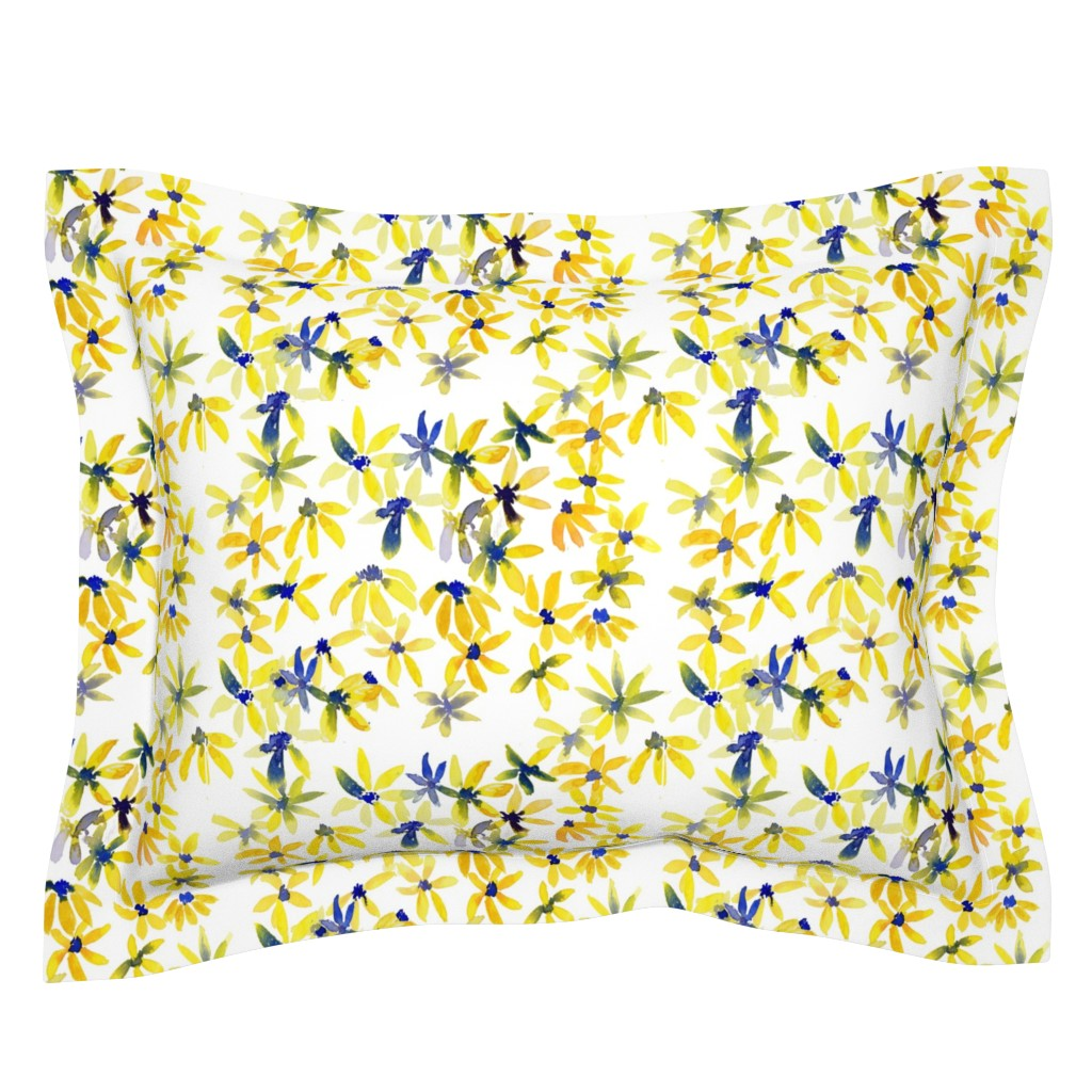 Sebright Pillow Sham featuring blue eyed susan by rosemaryanndesigns