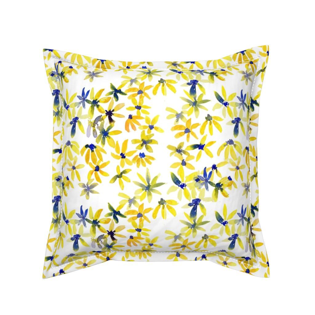 Serama Throw Pillow featuring blue eyed susan by rosemaryanndesigns