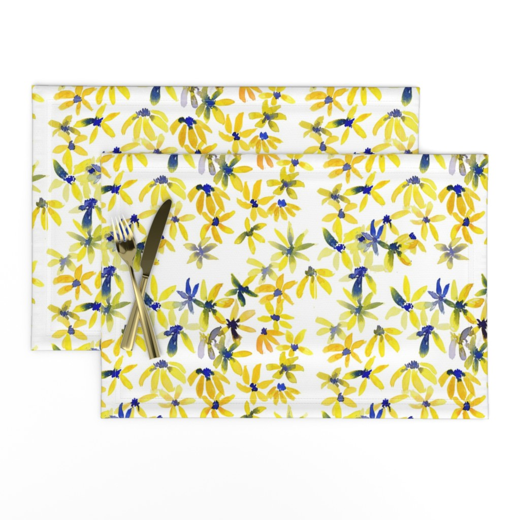 Lamona Cloth Placemats featuring blue eyed susan by rosemaryanndesigns
