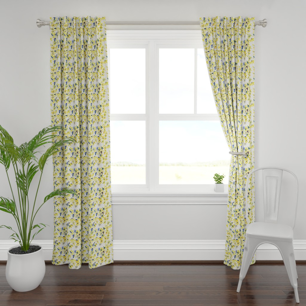 Plymouth Curtain Panel featuring blue eyed susan by rosemaryanndesigns