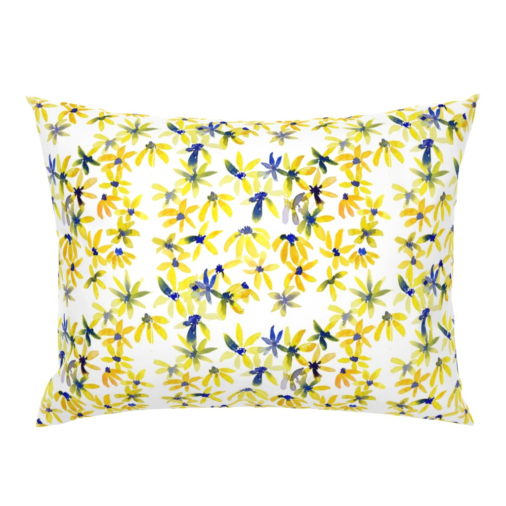 Campine Pillow Sham featuring blue eyed susan by rosemaryanndesigns