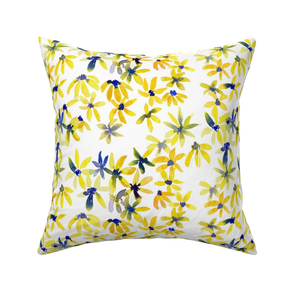 Catalan Throw Pillow featuring blue eyed susan by rosemaryanndesigns