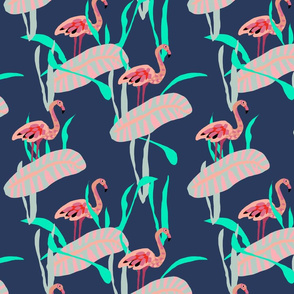 Papercut Flamingos on Navy