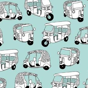 Mint blue auto rickshaw tuk tuk taxi trendy asian travel print