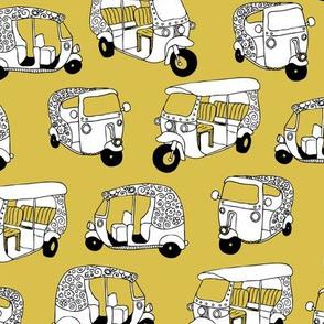 Yellow mustard auto rickshaw tuk tuk taxi trendy asian travel print