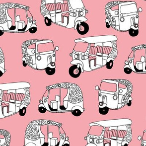 Pink auto rickshaw tuk tuk taxi trendy asian travel print