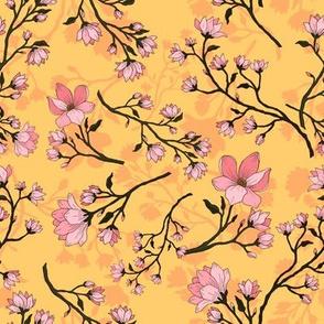 Sweet Magnolias on yellow