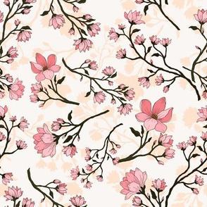 Sweet Magnolias on white
