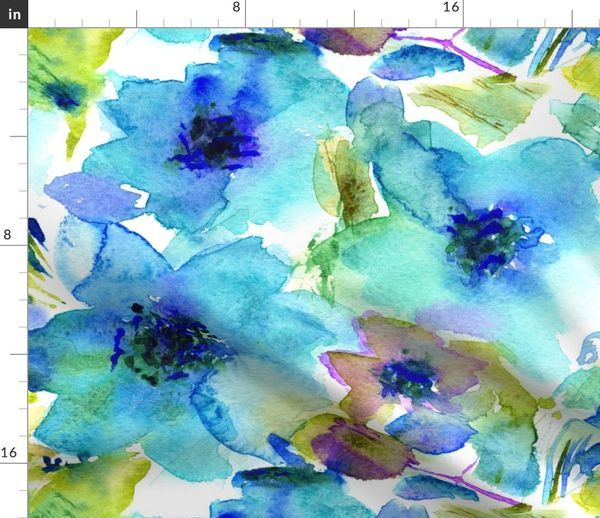 Fabric By The Yard Blue Watercolor Flowers