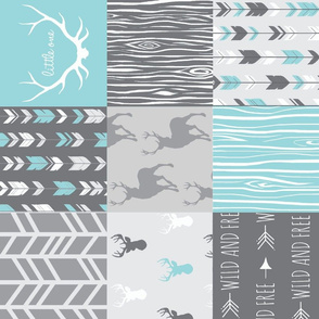 Patchwork Deer- Aqua and Grey - Rotated