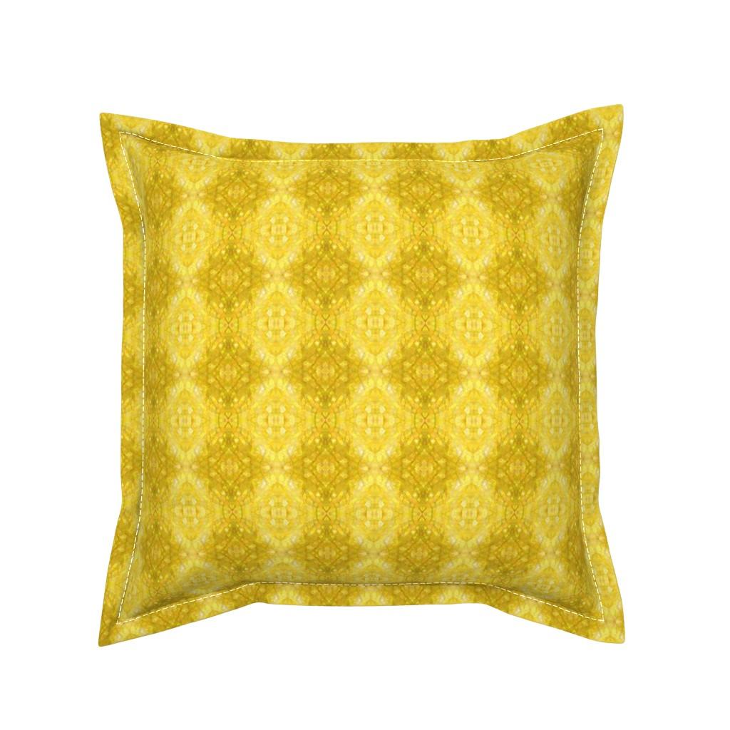 Serama Throw Pillow featuring ForsythiaGoldenYellowFractalsPATTERN by debracortesedesigns